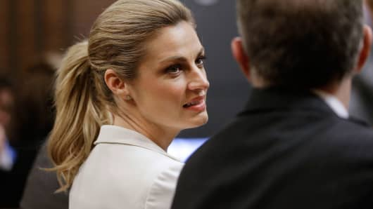 Sportscaster and television host Erin Andrews, left, talks with her attorney, Randy Kinnard, last week in Nashville, Tenn.