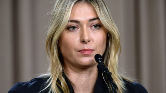Tennis player Maria Sharapova addresses the media regarding a failed drug test at the Australian Open at The LA Hotel Downtown on March 7, 2016 in Los Angeles.