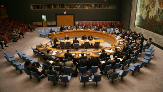 Members of Security Council listen to a presidential statement at United Nations headquarters in New York City.
