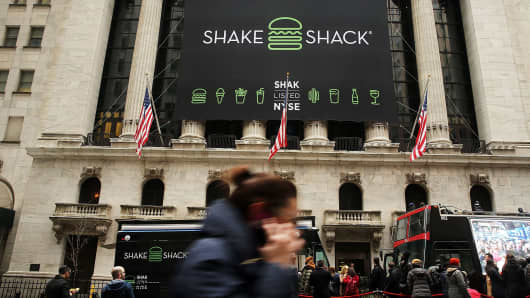 Shake Shack outside of the New York Stock Exchange