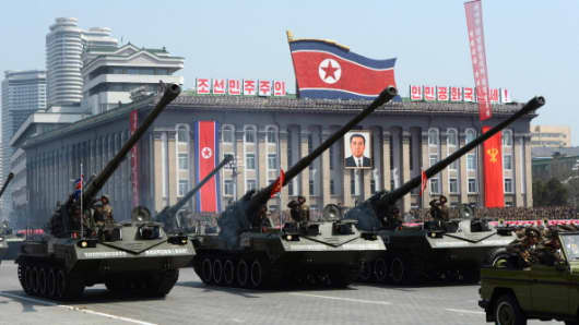 North Korean artillery units are displayed during a military parade to mark 100 years since the birth of the country's founder Kim Il-Sung in Pyongyang on April 15, 2012.