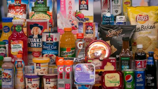 PepsiCo range of products on display.
