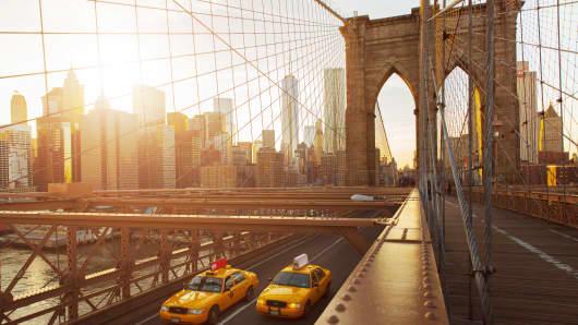 Taxis on The Brooklyn Bridge