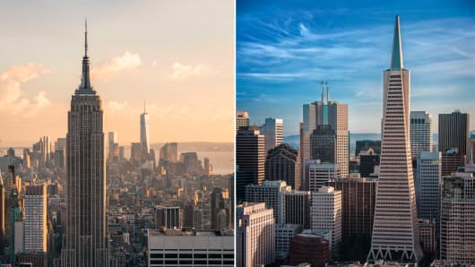 High-end rentals dominate the New York and San Francisco rental markets.