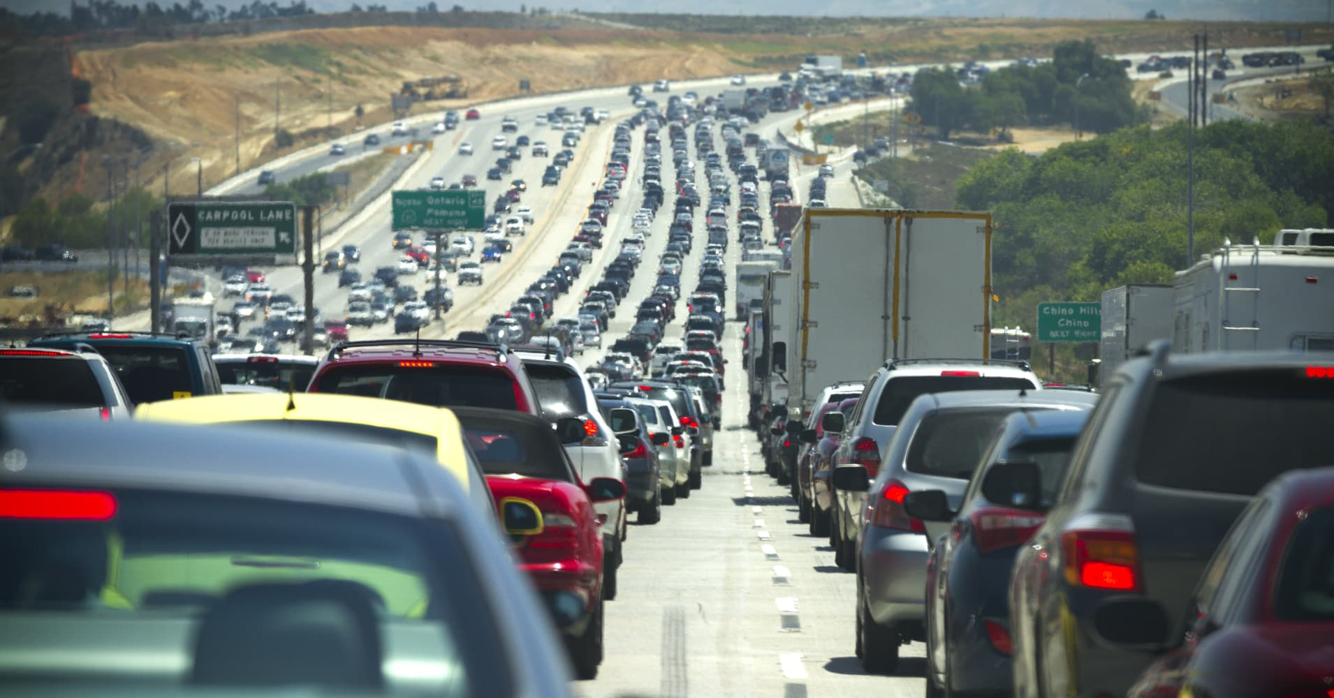 Traffic on an Interstate freeway in Southern California