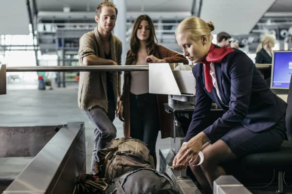 Baggage check at an airport