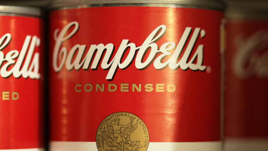 Campbell's Soup products stand on a store shelf