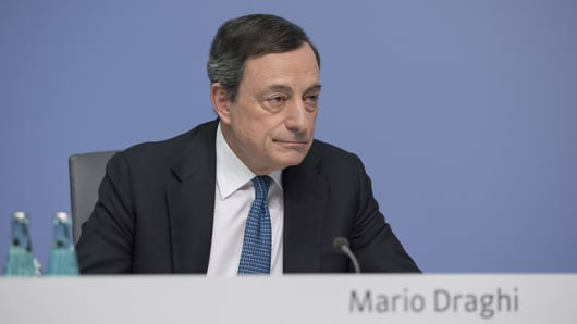 European Central Bank President (ECB) Mario Draghi speaks at the press conference following the meeting of the Governing Council of the ECB on 10 March 2016 at its premises in Frankfurt, Germany.