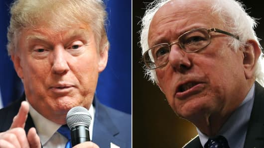 Republican candidate Donald Trump (l) and Democratic candidate Bernie Sanders (r).