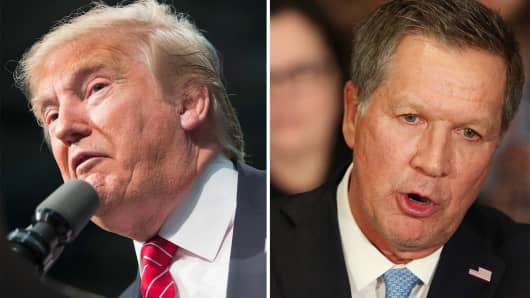 Republican presidential candidate Donald Trump and John Kasich