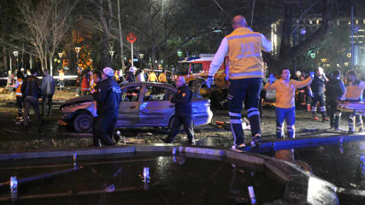 Emergency workers respond at the scene of the explosion in Ankara.