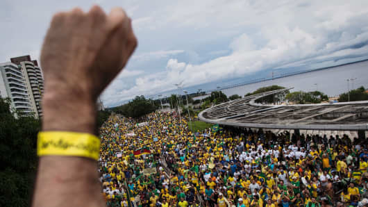 Thousands of demonstrators protest against Brazilian President Dilma Rousseff on March 13, 2016