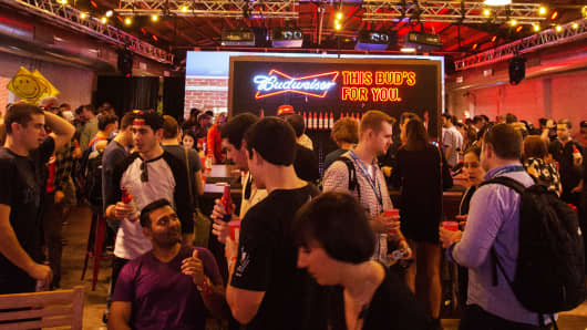 Budweiser area at the SXSW event in Austin, Texas.