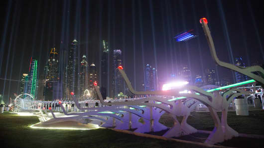 A drone flies around the track in front of the Dubai's Marina skyline, during the World Drone Prix drone racing championship in Dubai.