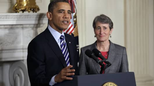 President Barack Obama with Interior Secretary, Sally Jewell on Feb. 06 2013.