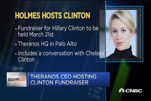 Theranos CEO hosting Clinton fundraiser