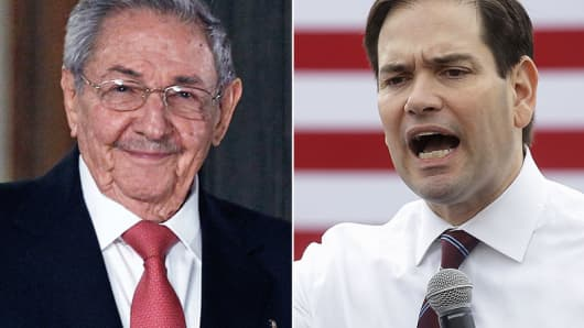 Raul Castro and Marco Rubio