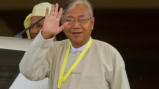 Htin Kyaw, newly elected president of Myanmar and member of the National League for Democracy (NLD) party, leaves after a parliament session in Naypyidaw on March 15, 2016.