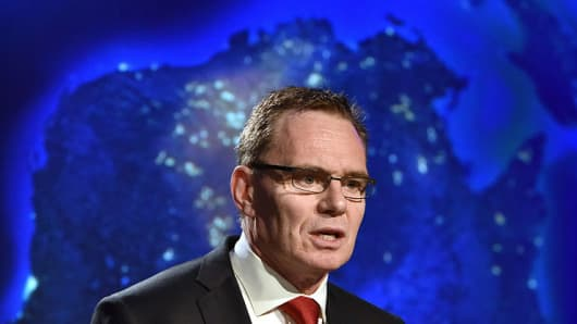 Andrew Mackenzie, Chief Executive Officer BHP Billiton speaks at the Minerals Week conference, Canberra on June 3, 2015.