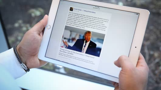 Republican candidate Donald Trump displayed on an iPad.