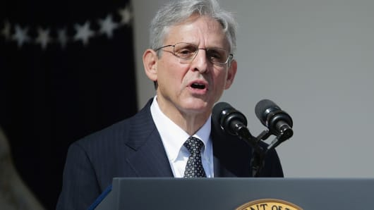 Judge Merrick B. Garland speaks after being nominated to the US Supreme Court in the Rose Garden at the White House, March 16, 2016 in Washington.