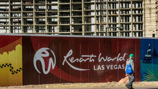 Signage at Resort World, a proposed construction project that includes a resort hotel and casino in Las Vegas last December.