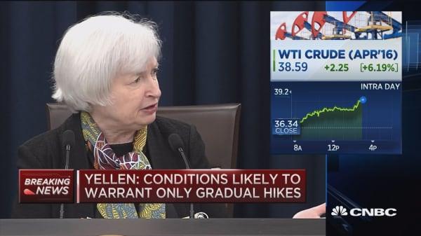 Yellen: Labor improvement will drive upward pressure on inflation