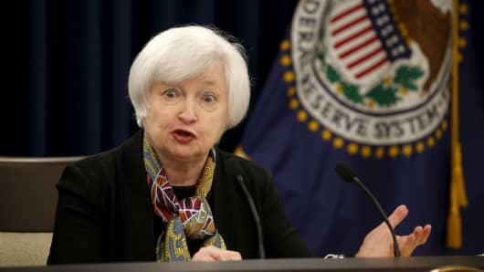 Federal Reserve Chair Janet Yellen holds a press conference following the two-day Federal Open Market Committee (FOMC) policy meeting in Washington March 16, 2016.