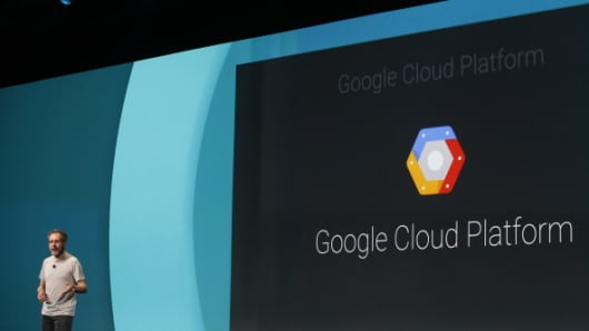 Urs Holzle, Google's senior vice president for technical infrastructure, speaks about the Google Cloud Platform during a conference on June 25, 2014, in San Francisco.