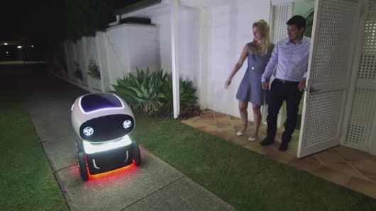Domino's Pizza unveils a delivery robot called DRU in New Zealand.