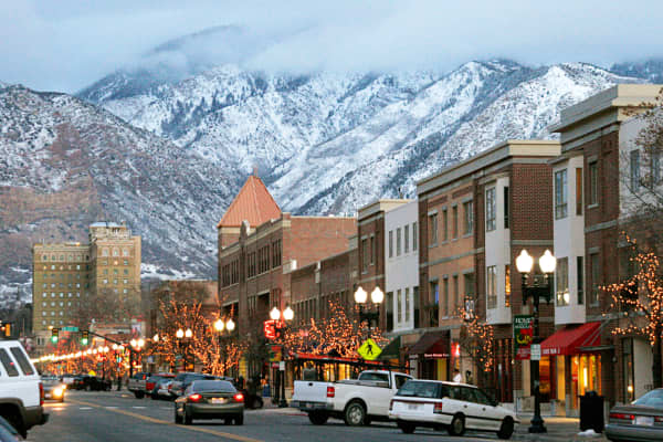 A scene showing 25th Street in Ogden, Utah.