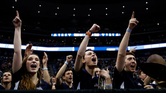 Members of the Gonzaga Bulldogs band react in the second half against the Seton Hall Pirates during the first round of the 2016 NCAA Men's Basketball Tournament at Pepsi Center in Denver, Colorado