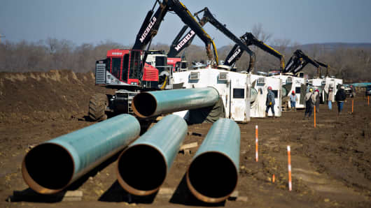 Crude oil pipeline being constructed by TransCanada Corp. in Atoka, Okla.