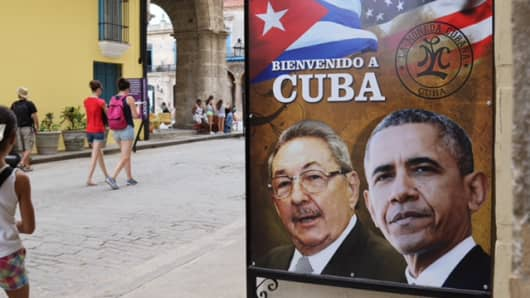 A billboard featuring Cuban President Raul Castro and Barack Obama, in Havana Cuba.