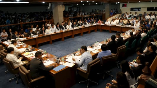 A Senate hearing of money laundering involving the theft of $81 million from the U.S. account of Bangladesh Bank, is pictured at the Philippine Senate in Manila March 17, 2016.