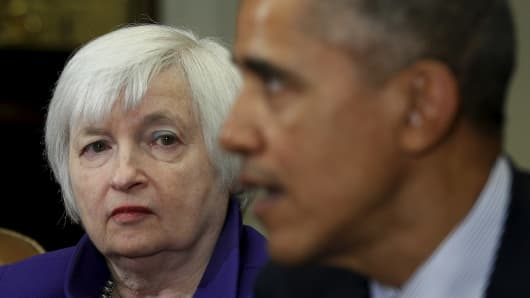 Federal Reserve Chair Janet Yellen listens as U.S. President Barack Obama holds a meeting with financial regulators to receive an update on their progress in implementing Wall Street at the White House in Washington March 7, 2016.