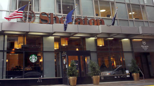 A Sheraton Hotel stands in downtown Brooklyn in New York City. A fight for the Starwood Hotel chain, which Sheraton is a member of, is underway following a $14 billion buyout offer last week from a consortium led by China's Anbang Insurance Group.