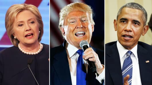Hillary Clinton, Donald Trump, Barack Obama