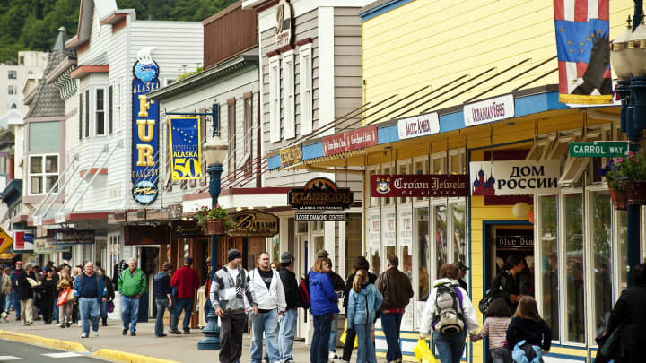 Downtown tourist shopping in Juneau, Alaska