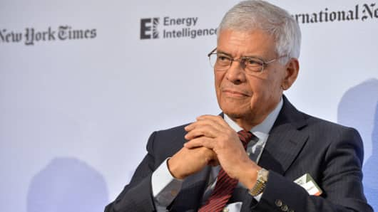 Abdalla Salem El-Badri, OPEC Secretary General, appears on stage on Day 1 at the International New York Times/Energy Intelligence Oil & Money Conference at The InterContinental Hotel on October 29, 2014