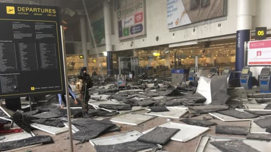 Aftermath of explosion at the main airport of Zaventem in Brussels.