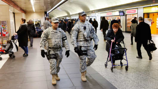 Members of the New York National Guard patrol New York's Penn Station on March 22, 2016.