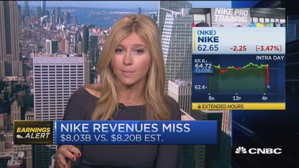 Nike bottom line beat, miss on revenue