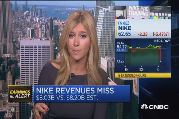 Nike bottom line beat, miss on revenue