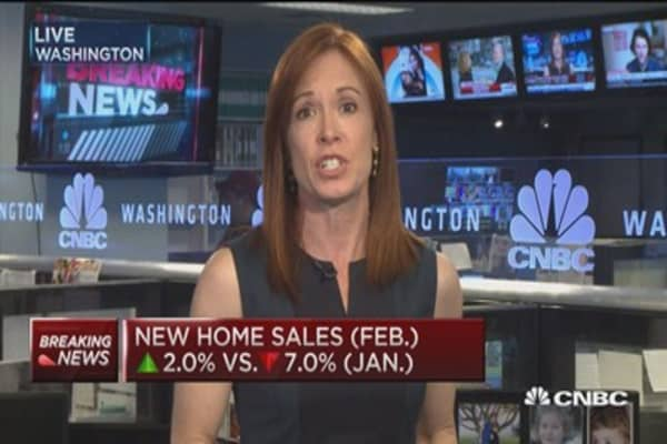 New home sales up 2% in February
