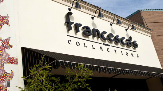 Signage for Francesca's Collections, a subsidiary of Francesca's Holdings Corp., is displayed outside of a store in Shrewsbury, New Jersey.