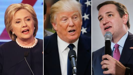 Hillary Clinton, Donald Trump, Ted Cruz