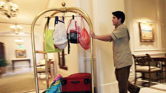 A bellman at the Ritz-Carlton, Key Biscayne, Florida.