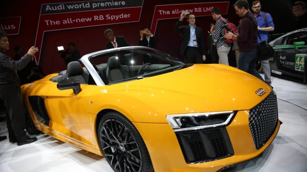 The Audi R8 Spyder introduced at the New York International Car Show at the Javits Center on March 23, 2016 in New York, NY.