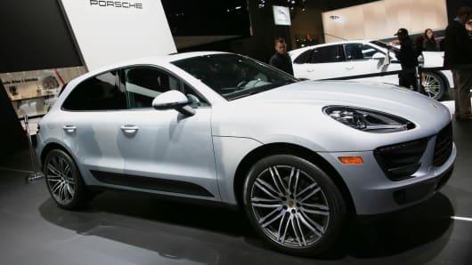The Porsche Macan introduced at the New York International Car Show at the Javits Center on March 23, 2016 in New York, NY.